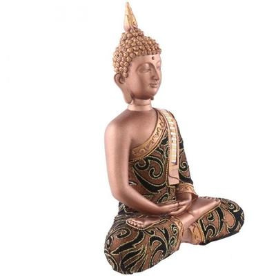 Statue Bouddha Thaï Marron et Doré avec Tissu (27 cm)