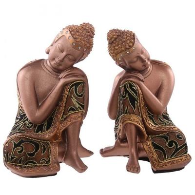"""Statue Bouddha Thaï Doré et Tissu Tête sur Genou """"lot de deux"""" (19 cm)"""