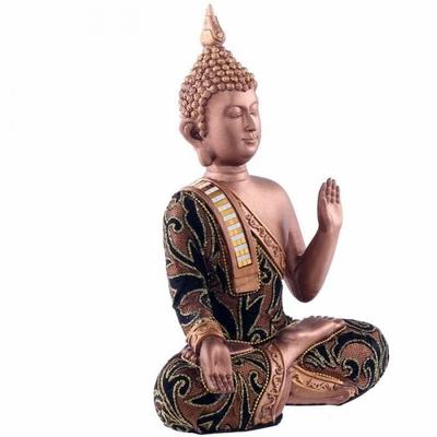 Statue Bouddha Thaï Main Levée Doré avec Tissu (23 cm)