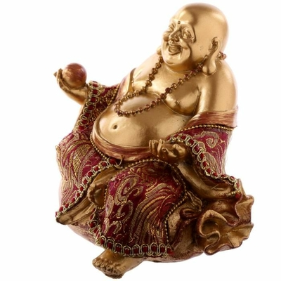 FIGURINE BOUDDHA CHINOIS OR ET ROUGE (13 CM)  BUD294 (3)