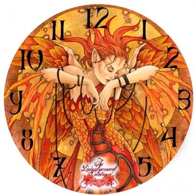 """Horloge imprimée - Fée """" Phoenix rising"""" par Linda Ravenscroft"""