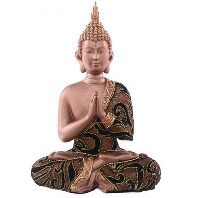 Statue Bouddha Thaï zen Marron et Doré Méditant (23,5 cm)