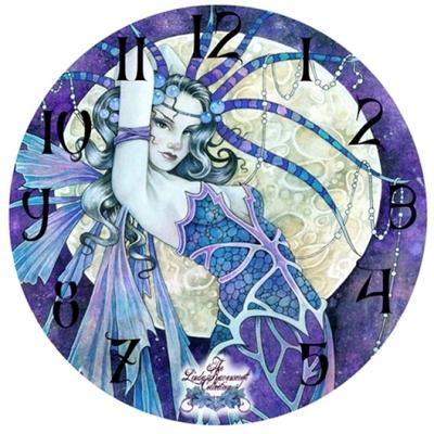 "Horloge imprimée - Fée "" Blue Moon"" par Linda Ravenscrof"
