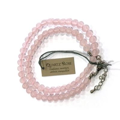 Collier Quartz Rose - perles 6 mm