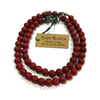Collier Jaspe rouge - perles 6 mm