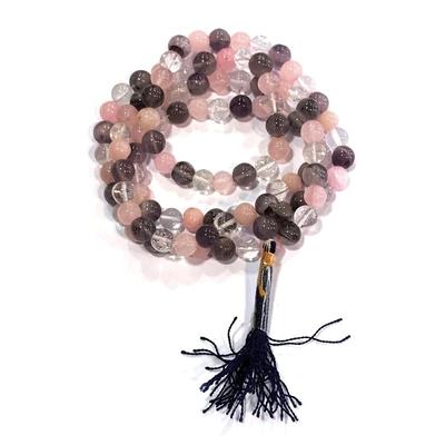 Collier Mala Cristal de roche- Améthyste- Quartz rose 108 perles (8 mm)