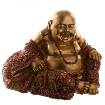 Figurine Bouddha Chinois Or et Rouge (16 cm)