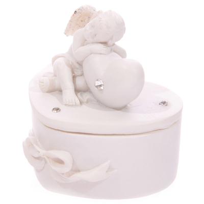 Chérubin Blanc endormi sur Boîte Coeur Modèle A
