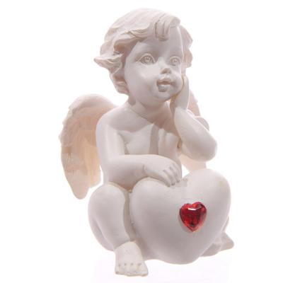 Chérubin Blanc assis avec Coeur Rouge Modèle A