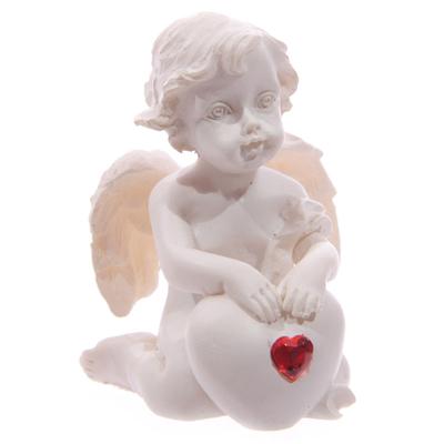 Chérubin Blanc assis avec Coeur Rouge Modèle B