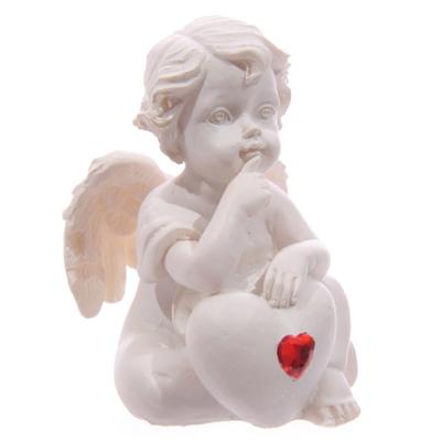 Chérubin Blanc assis avec Coeur Rouge Modèle C