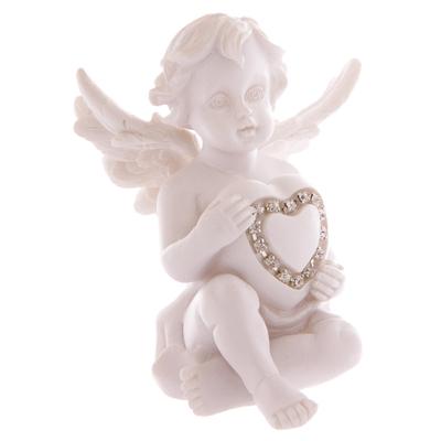 Ange assis tenant un Cœur incrusté de Bijoux Modèle A