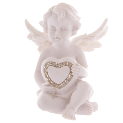 Ange assis tenant un Cœur incrusté de Bijoux Modèle C