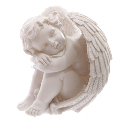 Ange Blanc reposant sa tête sur Genoux 17cm Modèle A