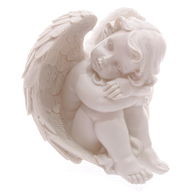 Ange Blanc reposant sa tête sur Genoux 17cm Modèle B