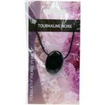 Pendentif pierre ovale percée - Tourmaline Noire  32249