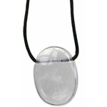 Pendentif pierre ovale percée - Cristal de roche  32242 (2)