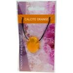 Pendentif pierre ovale percée - Calcite orange  32241