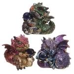Bébé Dragon Vert, rouge, violet, avec sa boule magique (1)