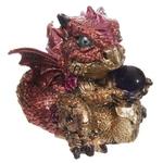 Bébé Dragon Vert, rouge, violet, avec sa boule magique (4)