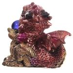 Bébé Dragon Vert, rouge, violet, avec sa boule magique (5)