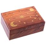 Boîte En Bois - Motifs Soleil, Lune et Etoiles  IF180 (1)