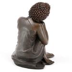 Bouddha Thaï -Effet Bois- Tête sur Genou Droit (B)  BUD123-B (1)