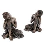 Bouddha Thaï, Tête sur Genou, Effet Bois (Lot de 2)  BUD123-Lot