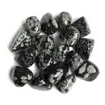 Obsidienne flocon, mouchetée, neige, pierre roullée (2)