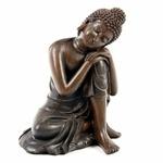 Bouddha Thaï -Effet Bois- Tête sur Genou Gauche (A)  (2)