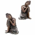 Bouddha Thaï, Tête sur Genou, Marron (Lot de 2)