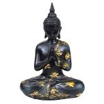 Bouddha Thaï Priant Noir et Doré Statue (22 cm) (2)