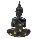 Bouddha Thaï Priant Noir et Doré Statue (22 cm) (1)