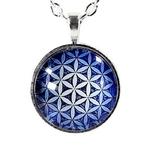 Collier Pendentif Fleur de Vie Bleu (2)