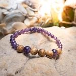 Bracelet Améthyste et Jaspe Paysage fabrication artisanal fait main de la marque oYa véritable pierre naturelle lithothérapie bien etre perles de 6 mm et 8 mm (7)