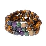 Bracelet oYa le Bonheur est un Choix Oeil de tigre et 4 pierres piliers -lithothérapie-vertus-améthyste-turquoise-jaspe-lapis-lazuli-pierre-naturel-(3)