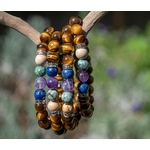 Bracelet oYa le Bonheur est un Choix Oeil de tigre et 4 pierres piliers -lithothérapie-vertus-améthyste-turquoise-jaspe-lapis-lazuli-pierre-naturel-(10)