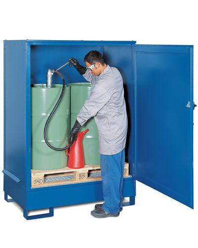 Box de stockage en acier, peint, avec porte battante, pour 2 fûts de 200 litres