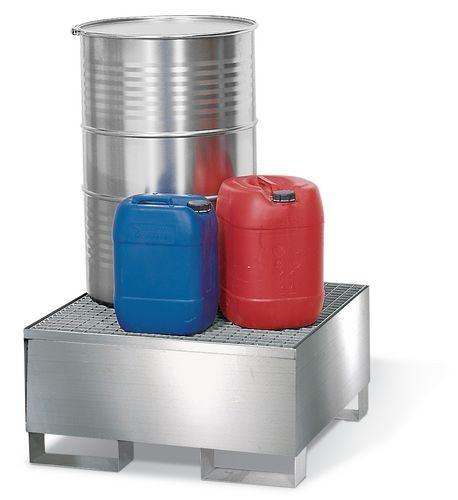 Bac de rétention pour 1 fût de 200 litres, caillebotis inox