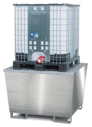Bac de rétention pour 1 cuve de 1000 litres, caillebotis galvanisé
