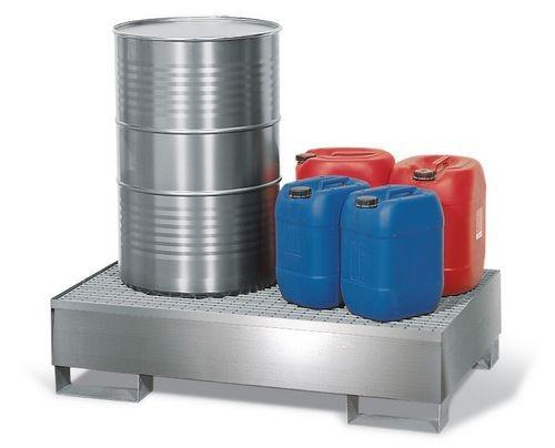 Bac de rétention pour 2 fûts de 200 litres, caillebotis inox