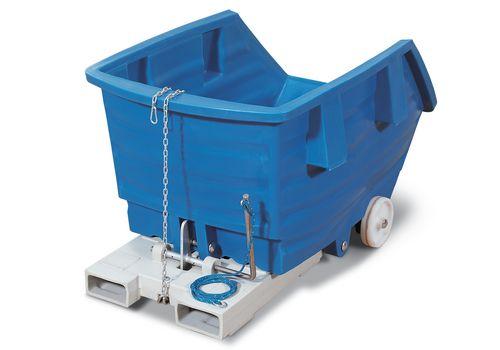 Chariot benne basculante bleue en PE, 750 litres