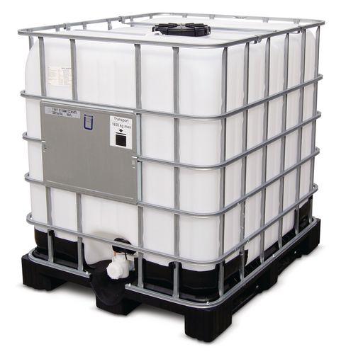 Cuve IBC, palette PE, 100 l, ouverture DN 225, sortie DN 50, robinet à boisseaux avec joint Viton
