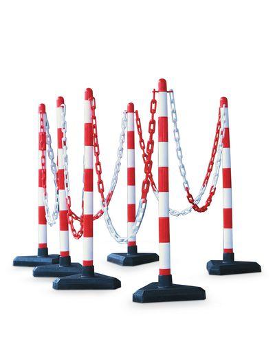 Kit de délimitation : poteaux et chaines pour balisage blanc/rouge