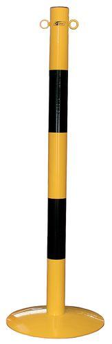 Poteau à chaine sur socle jaune