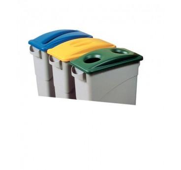 Couvercle avec ouverture pour poubelle de tri sélectif, bleu