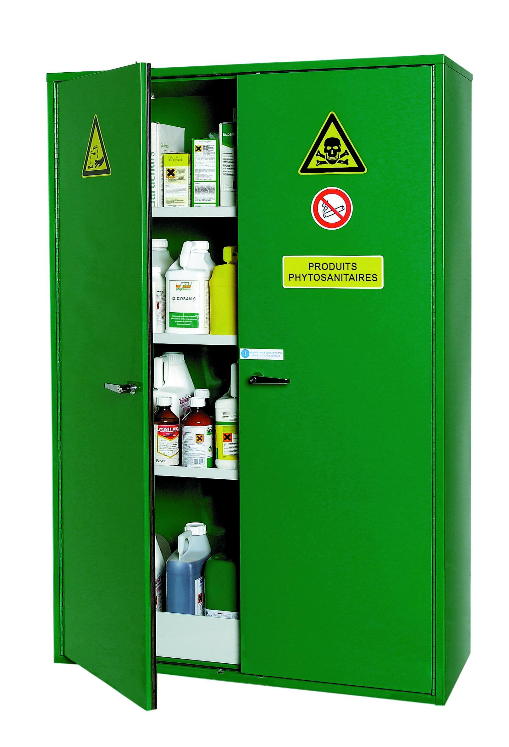 Armoire pour produits phytosanitaires, 2 portes, verte