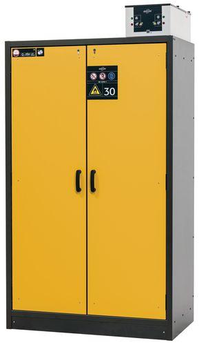 Armoire de sécurité L=1200 avec 3 étagères, coupe-feu 30 min, jaune