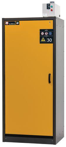 Armoire de sécurité, L = 900 mm, avec 3 étagères, coupe-feu 30 min, jaune