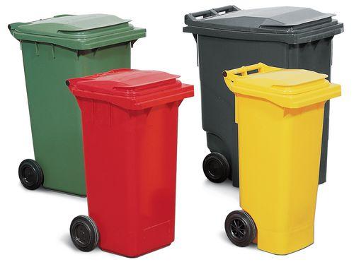 Conteneur à déchets, équipé de 2 roues, couleur rouge